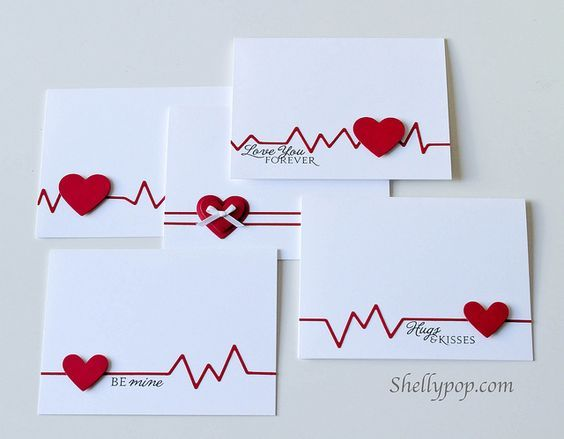 Valentine Handmade Cards...this one with a EKG (heart test chart) and red hearts!
