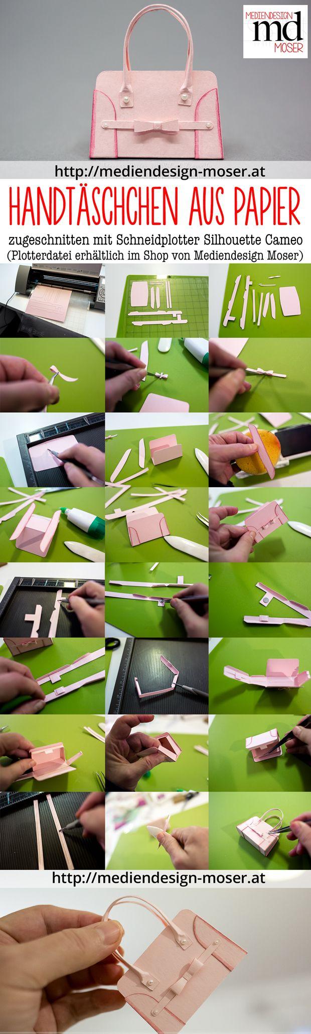 Handtäschchen aus Papier, entworfen von Brigitte Baier-Moser, hergestellt mit dem Schneidplotter Silhouette Cameo