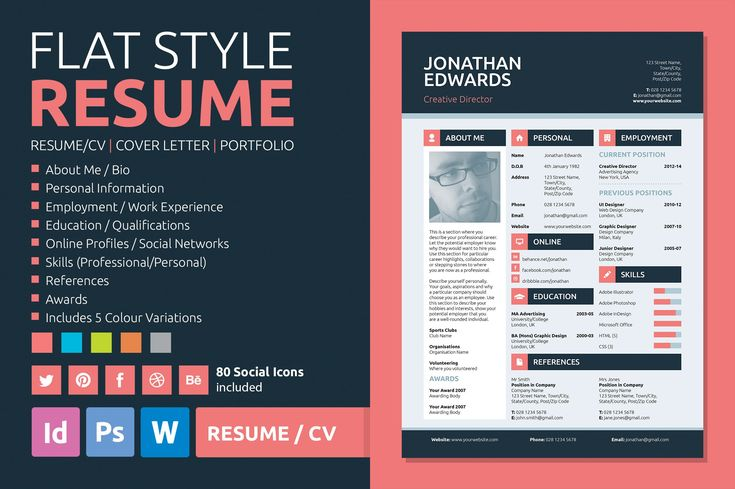 Flat style resume graphic design resume resume resume
