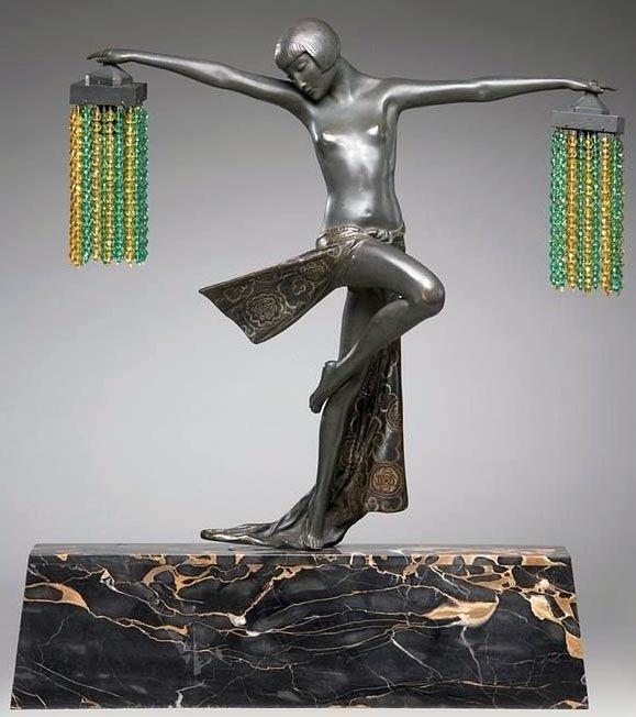d 233 co statuette femme aux perles bronze et marbre c j r colinet figurines
