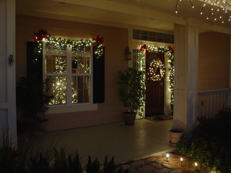 Lighted garland around door and wreath merry christmas y 39 all pinterest porches front for Exterior christmas garland with lights