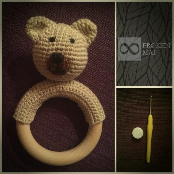Bamsen Bertram - Hæklet Rangle - Bertram the Bear - Crochet Rattle. If anybody wants the pattern in English - please write me :-)