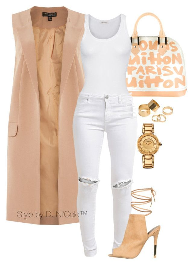 """Untitled #3284"" by stylebydnicole ❤ liked on Polyvore featuring Louis Vuitton, Lipsy, American Vintage, FiveUnits, Pieces and Versace"