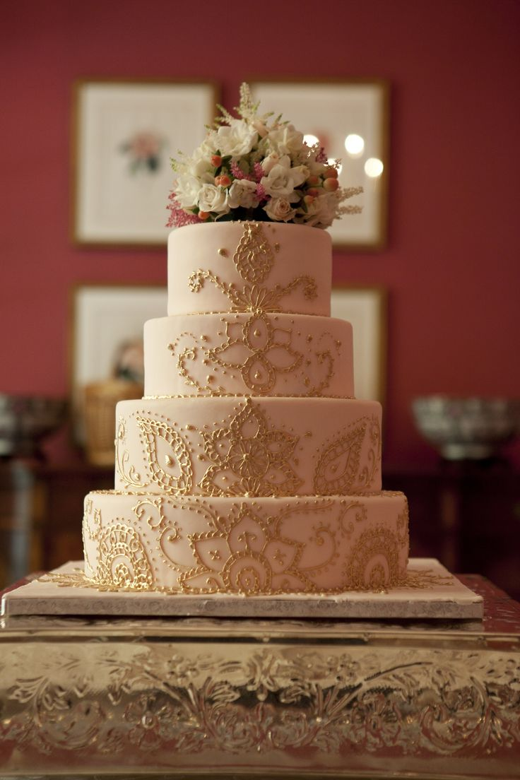 Pink and Gold Henna Wedding Cake