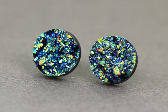 Fake Plugs Druzy Stone Stud Earrings  Green Purple by ArtisanTree, $12.00