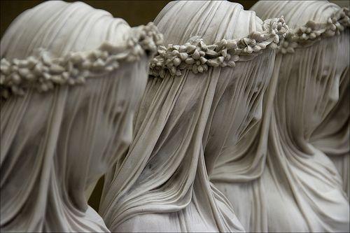 Raffaelle Monti, Veiled Virgins. Stone made gossamer,  transparent.