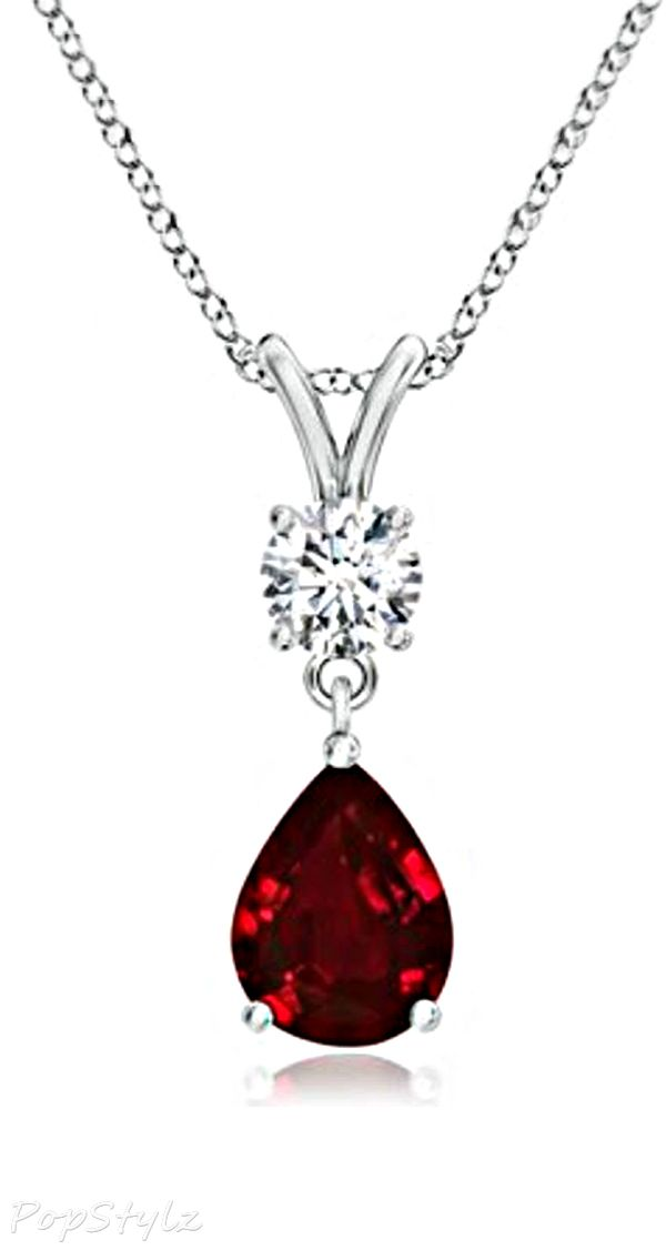 AAAA Quality Pear Ruby and Round Diamond Heirloom Necklace