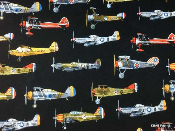 Airplane Fabric By The Yard Half Fat Quarter Vintage