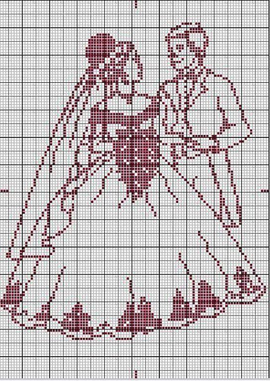 Wedding couple x-stitch