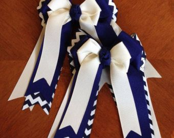 Hair Bows for Horse Shows/yellow navy blue by BowdanglesShowBows