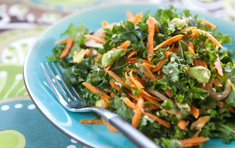 Kale, Carrot, and Avocado salad.  Don't have to cook the kale, just let it sit in the citrus and avocado for 30 min.  Making it for a second time tonight.
