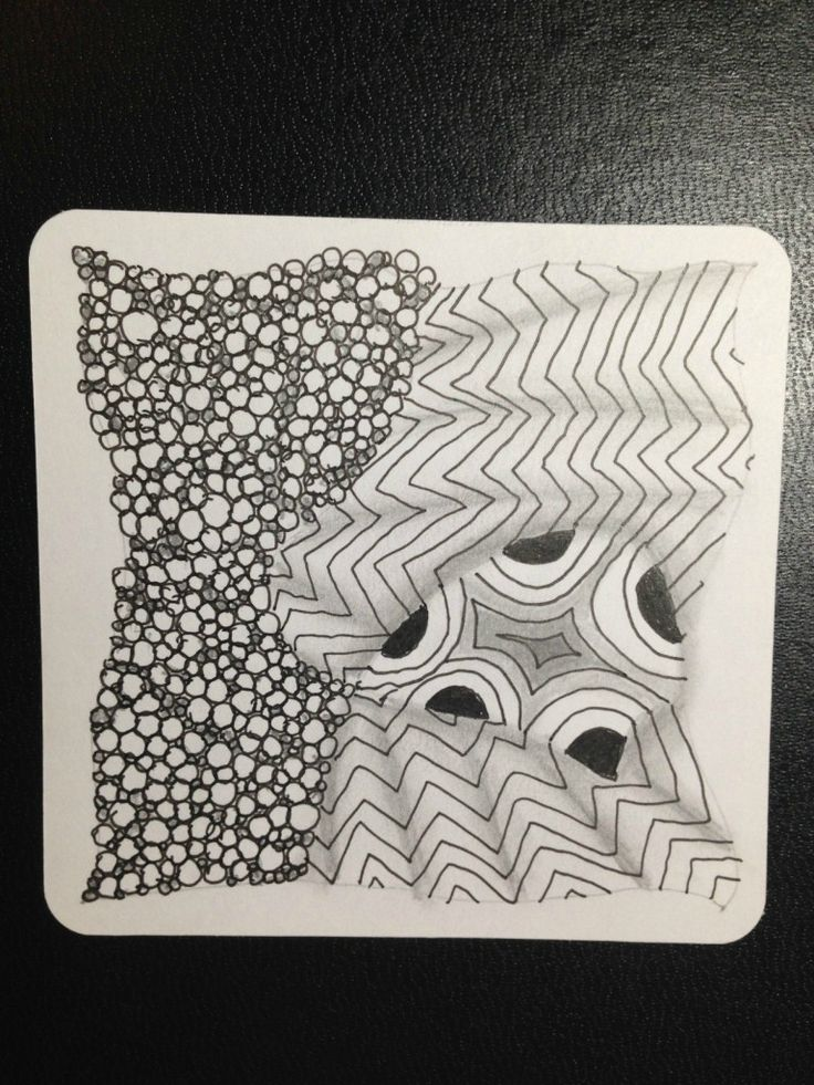 """Zentangle #10. July 10 2014 """"One Zentangle A Day"""" day 1- static, tipple, crescent moon"""