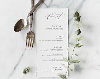 minimalist menu with modern calligraphy | wedding menu | event menu | custom calligraphy | rehearsal dinner menu | wedding paper