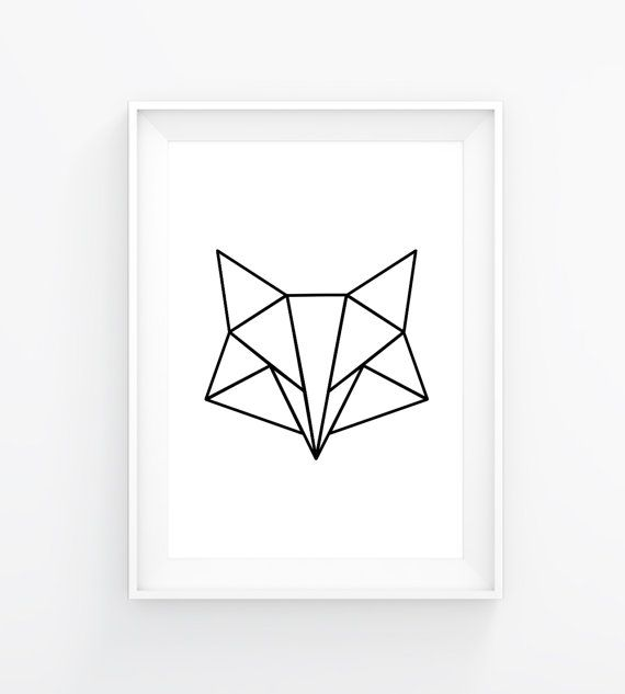 Instant download poster, Poster geometric fox, white, Poster, triangle, fox…