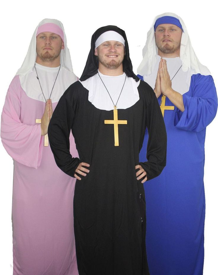 Blue Pink Black Male Nun Fancy Dress Nuns On The Run Sister Act Stag - The Dragons Den Fancy Dress