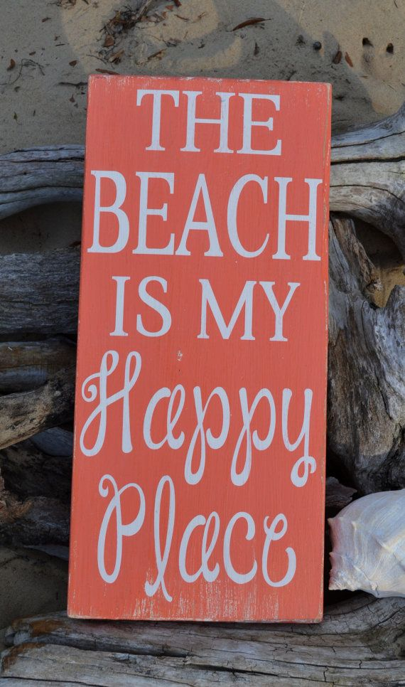 Beach Decor - Beach Sign - 20x10 - Coastal - Nautical - The Beach Is My Happy Place - Wood - Painted - No Vinyl - Coral - Beach House Theme