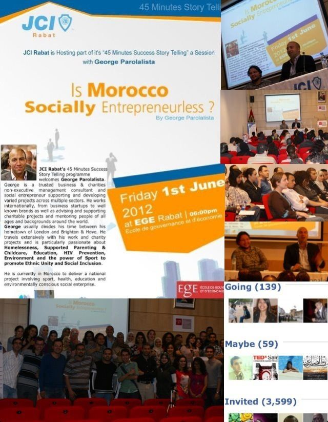 Morocco 2012 - speaking event at Rabat school of Economics & Management (got a bit of a scare when they invited almost 4,000 people!)