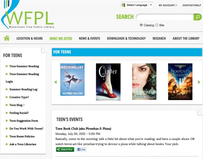 Watertown Free Public Library (WFPL) needed a new site to meet the needs of a more technology oriented community. This new site was built for mobile and desktop devices and includes many features such as room reservations, registration, social media integration, calendar, forum, multi-lingual translation, photo/video galleries and advanced search.