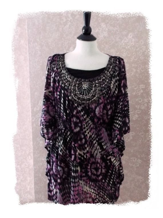 Style Co. L beaded twinset tunic top #artsy bat wing dolman purple bling large #StyleCo #TunicTop #occasion