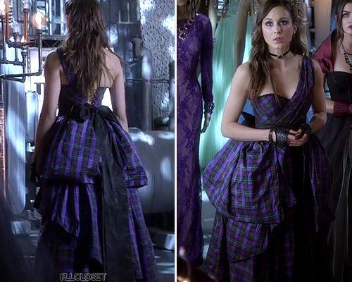 Pretty Little Liars Fashion purple tartan dress