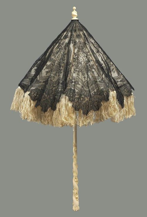 French Black Chantilly-Lace Parasol with Wide Silk Fringe, Mid-19th Century. Courtesy of the MFA in Boston.