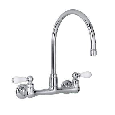 American Standard Heritage 2-Handle Wall-Mount Kitchen Faucet in Polished Chrome with Gooseneck Spout-7293.252.002 - The Home Depot
