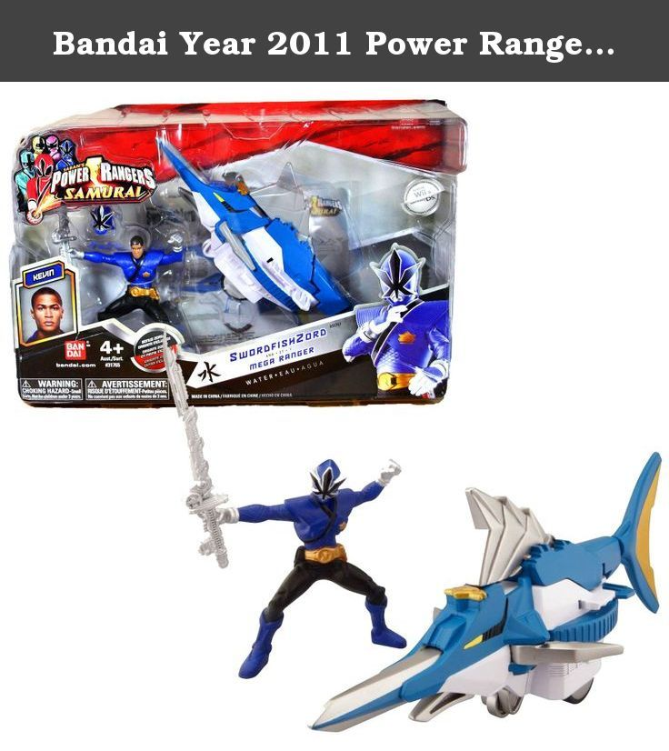 """Bandai Year 2011 Power Rangers Samurai Series Action Figure Zord Vehicle Set - SWORDFISH ZORD with 3-1/2 Inch Tall Water Blue Mega Ranger """"Kevin"""" and Removable Mask. Bandai Year 2011 Power Rangers Samurai Series Action Figure Zord Vehicle Set - SWORDFISH ZORD with 3-1/2 Inch Tall Water Blue Mega Ranger """"Kevin"""" and Removable Mask."""