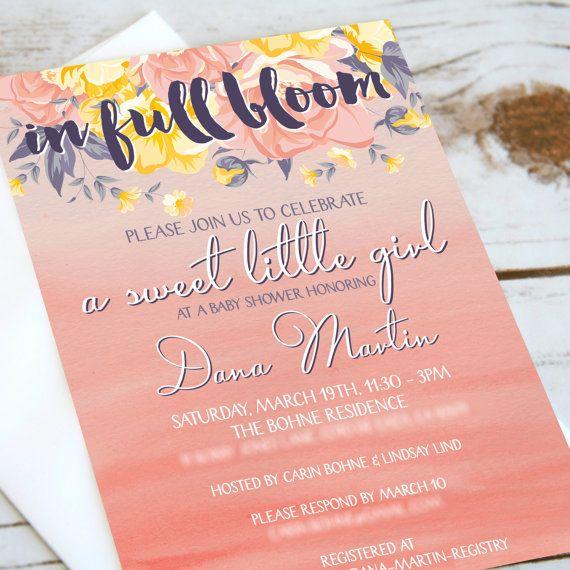 Girls Baby Shower Invitation - In Full Bloom - Spring baby shower - floral baby shower invite