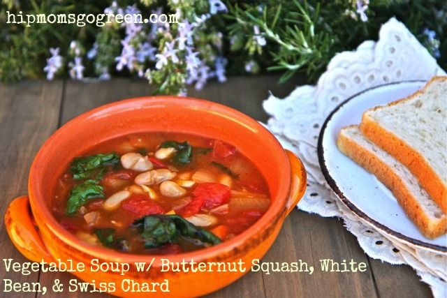 Vegetable Soup w/ Butternut Squash, White Beans, Swiss Chard. #soup, # ...