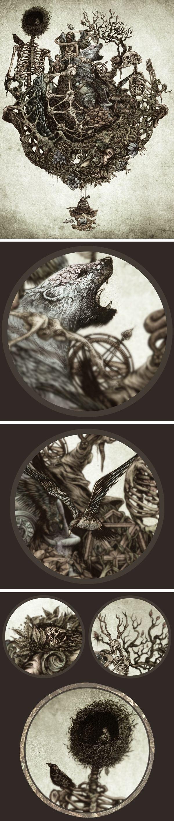 Gaia Calling ~ artist DZO Olivier; pencil, ink, digital media.  Wonderful details.  #art #illustration #mytumblr