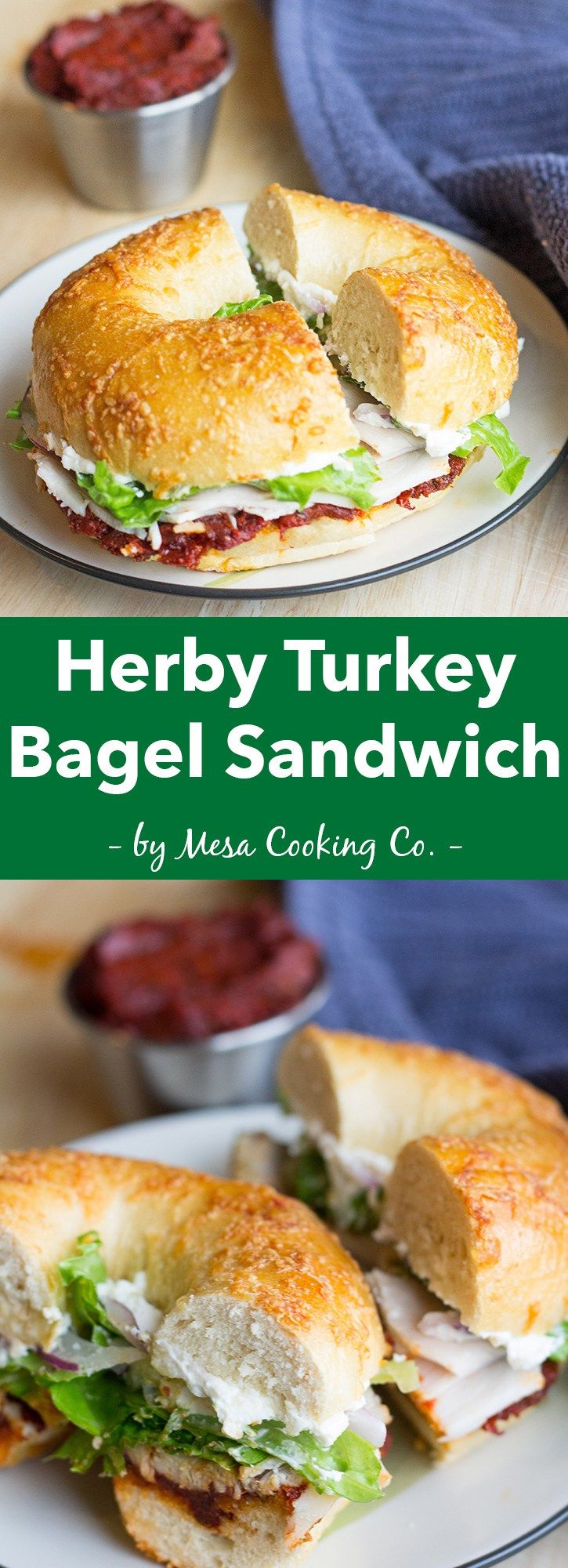Herby Turkey Bagel Sandwich with Sun-Dried Tomato Spread // Inspired by my favorite sandwich from my favorite bagel shop - now you can make it at home! // www.mesacookingco.com