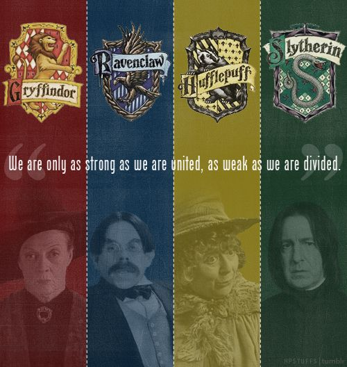 The 4 Houses of Hogwarts. : Funny Things, United, Gryffindor Slytherin, Dividers, Hogwarts Houses, Strong, Booksmoviesand Things, Harry Potteralway, Houses Unity
