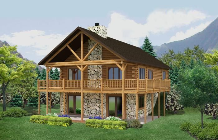 Log home kits square feet ranch style home shown for Log cabin with basement