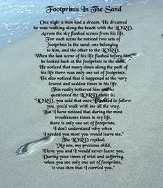 Words To Poem Footprints In The Sand Google Search