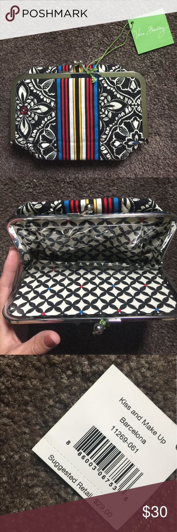 Let's kiss and make up Barcelona make up bag! Vera Bradley does it again, she's amazing! This make up bag is lined in plastic for easy cleanup with a vintage closure. This is absolutely adorable and brand-new in packaging. This retails for $45. Thanks! Vera Bradley Accessories
