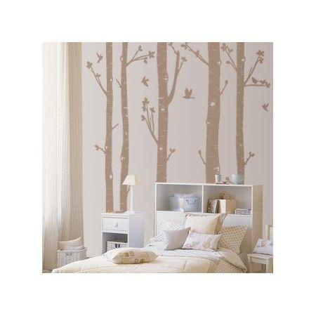 Vinilos infantiles de cinco árboles con pajaritos volando para decoración infantil de habitaciones. Pegatinas paredes con cinco árboles con pajaritos volando