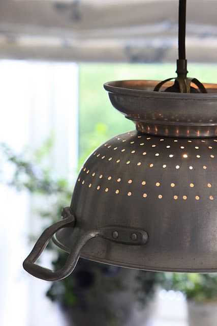 isn't this old colander just the greatest light shade ever!