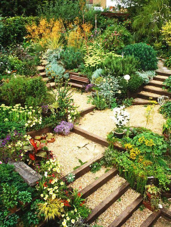 Slope Hillside Landscaping A Sloped Yard : About landscaping a slope on terraced garden hillside