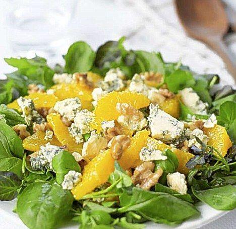 Orange, Walnut and Stilton Salad - get recipe here: http://www.dailymail.co.uk/femail/food/article-2104869/Todays-recipe-Orange-walnut-Stilton-salad.html