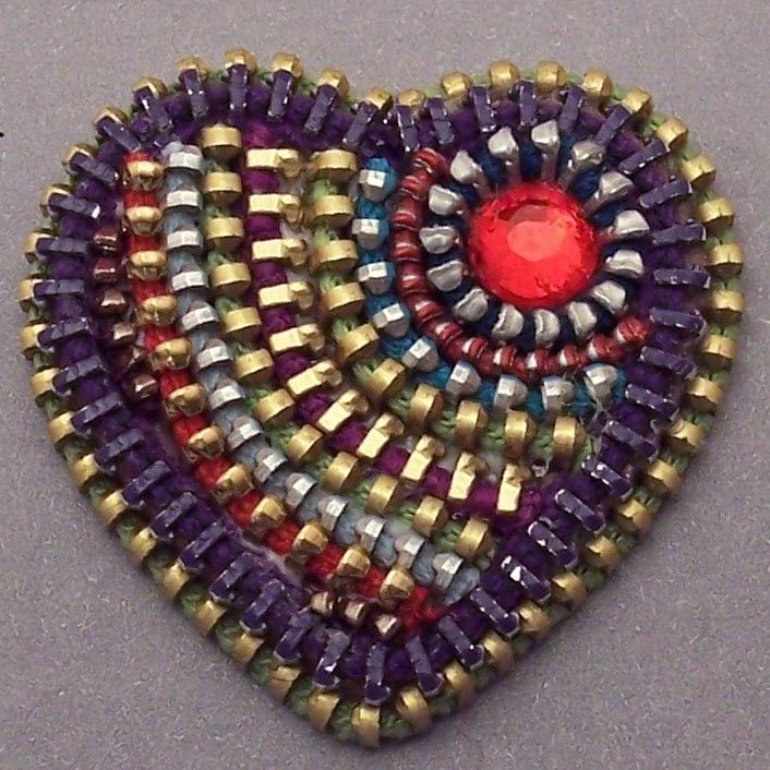 Zip It Up - Zipper Heart Brooch - with Swarovski Crystal Detail. Cool! I love it!