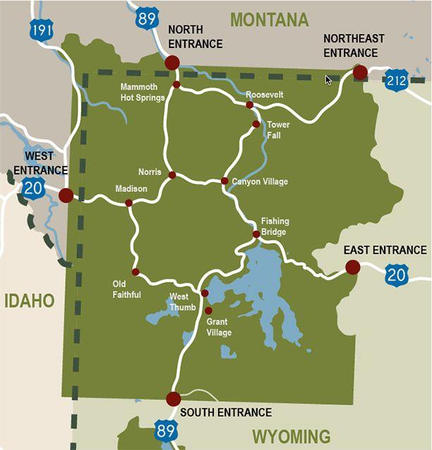 Yellowstone Road Map