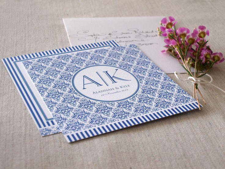 Mediterranean Muse Wedding Invitations Blue & White http://www.alannahrose.com.au/shop/category/wedding-stationery
