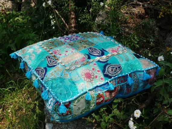 Floor Cushion Bohemian Decorative Cushion Cover Floor Pouf Turquoise Meditation Cushion Large Square Floor Pillow Indian Hippie Decorative Cushion Covers Square Floor Pillows Decorative Cushions