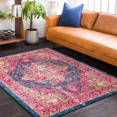 Bungalow Rose Woodward Oriental Blue Area Rug Rug Size: Rectangle 7 ...