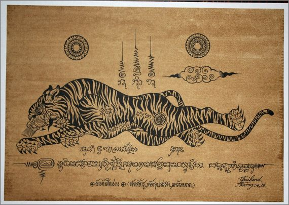 Thai traditional art of Talisman Tiger Leap by silkscreen printing on sepia paper