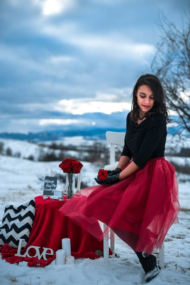 Burgundy tulle skirt outfit - Valentine's day decor