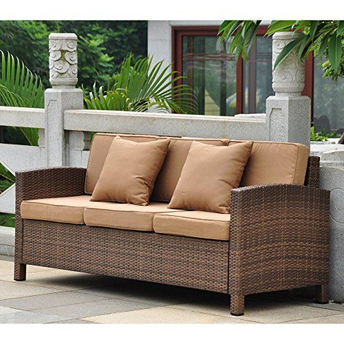International Caravan Barcelona Resin Wicker Patio Sofa With Cushions Best Prices Patio Sofa Outdoor Sofa Sofa