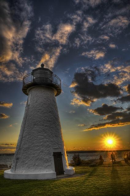Ned's Point Light at Sunset, in Mattapoisett, Massachusetts