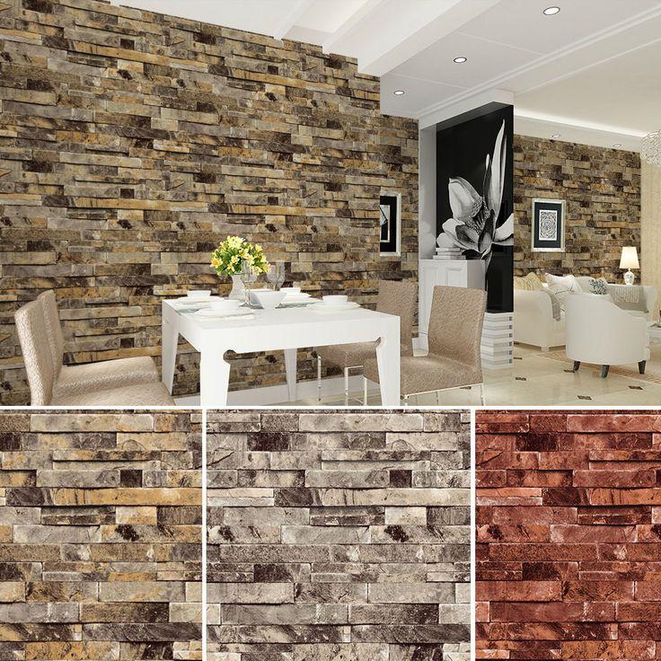 Details about vinyl vintage faux brick stone 3d wallpaper for Papel decomural vintage