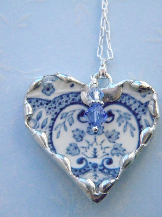 Broken China Jewelry Light Blue Transferware Necklace via Etsy